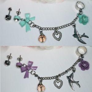 🍌2 Set of Earring Jeweled Cuffs Mint & Purple